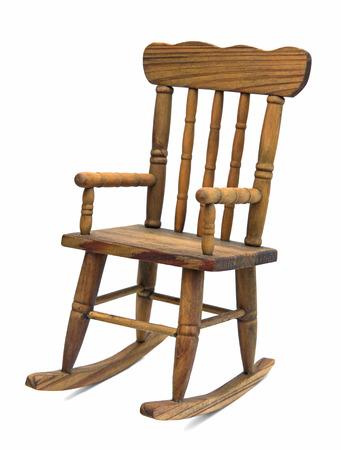 Foto de old wooden rocking chair on white background - Imagen libre de derechos