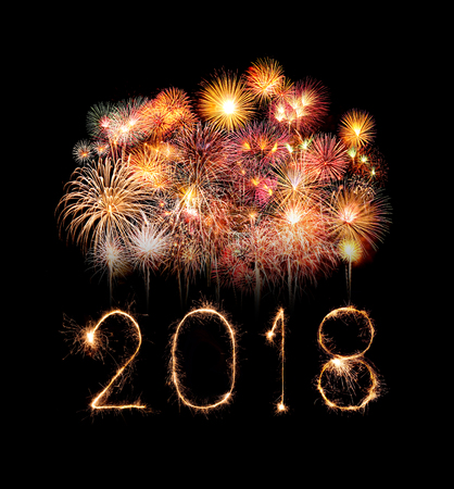 Photo for Happy new year 2018 written with Sparkle firework at night - Royalty Free Image