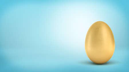 Foto de 3d rendering of a whole golden egg with metallic reflection on blue background. - Imagen libre de derechos