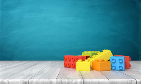 Photo for 3d rendering of a toy building blocks lying in a colorful pile over a wooden desk on a blue background. - Royalty Free Image
