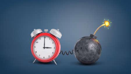 Foto de 3d rendering of a large red retro alarm clock connected by wire to a round iron lit bomb. - Imagen libre de derechos