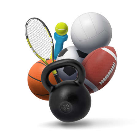 Photo pour 3d rendering of collection of sport and fitness equipment: a dumbbell, a kettlebell, tennis gear, and several team sport balls. - image libre de droit