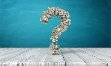 Photo pour 3d rendering of a question sign made of many dollar banknotes hanging above a wooden desk. Where are money. How to get rich. Question of money. - image libre de droit