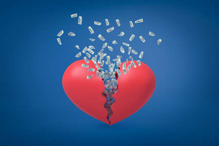 Photo pour 3d rendering of valentine heart broken in two with dollars flying out from inside. - image libre de droit