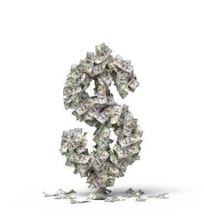 Photo pour 3d rendering of big dollar sign made of banknotes - image libre de droit