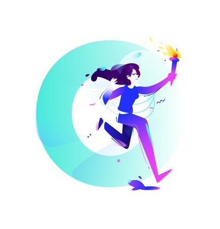 Ilustración de Illustration of a girl with a torch. Running girl. - Imagen libre de derechos