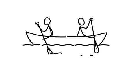 Illustration pour Illustration of two men in a boat. Vector. Each team in their own way. Conflict of interest. Metaphor. Contour picture. Leader race. Ambitions bosses. - image libre de droit