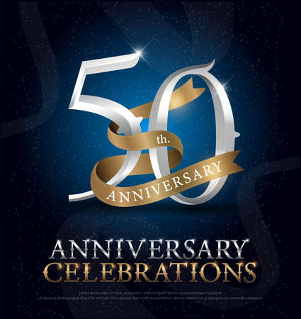 Foto de 50th years anniversary celebration silver and gold logo with golden ribbon on dark blue background. vector illustrator - Imagen libre de derechos
