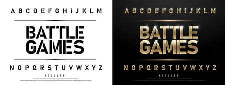 Illustration pour Technology alphabet golden metallic and effect designs for logo, Poster. - image libre de droit