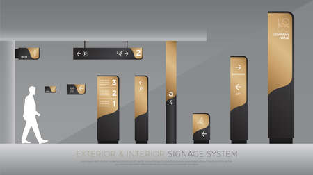 Ilustración de exterior and interior signage concept. direction, pole, wall mount and traffic signage system design template set. empty space for logo, text, black and gold corporate identity - Imagen libre de derechos