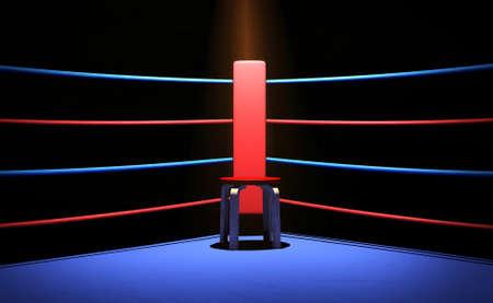 Photo pour Boxing ring with chair at the corner - image libre de droit