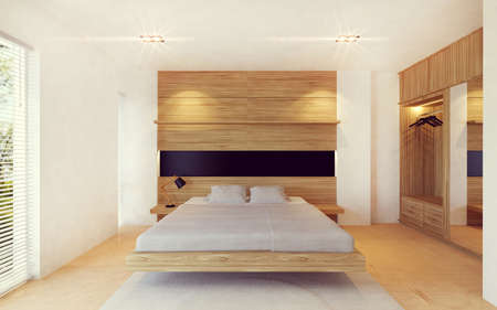 Foto de Modern bedroom interior in wood decoration, 3D rendering - Imagen libre de derechos