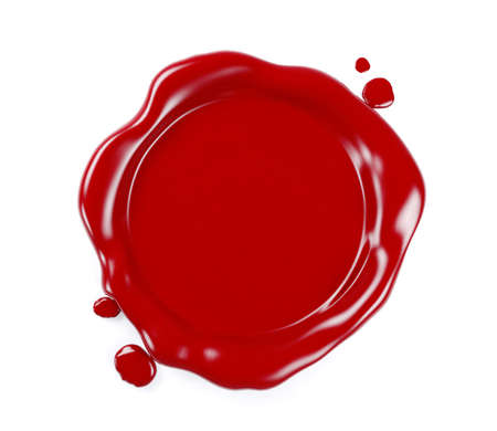 Foto de Red wax seal isolated on white background, 3D Rendering - Imagen libre de derechos
