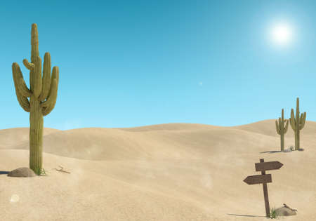 Photo for Sandy desert landscape with cactus and wooden sign on blue sky background, 3D Rendering - Royalty Free Image
