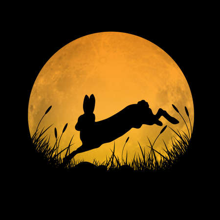 Illustration pour Silhouette of rabbit jumping over grass field with full moon background, vector illustration - image libre de droit