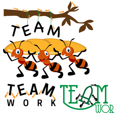 Illustration pour Collection of teamwork images ants holding a heavy and group of ants working together - image libre de droit
