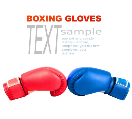 Sample text with boxing gloves on a white background close up