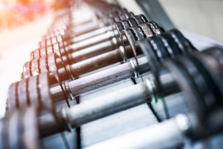 Photo for dumbbells in modern sports club  Weight Training Equipment - Royalty Free Image