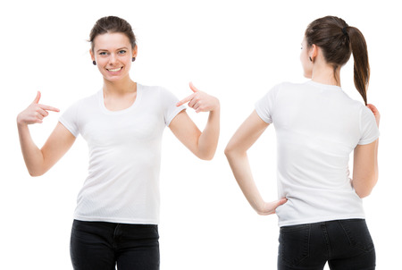 Photo pour Girl in a white T-shirt isolated on white background, front and back - image libre de droit