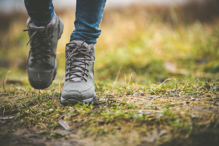 Foto per feet in shoes on a forest path - Immagine Royalty Free