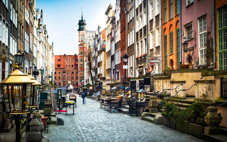 Photo pour Architecture of Mariacka street in Gdansk is one of the most notable tourist attractions in Gdansk. - image libre de droit