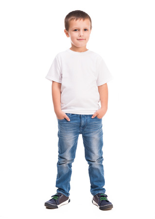 Photo pour little boy in white shirt isolated on white background - image libre de droit