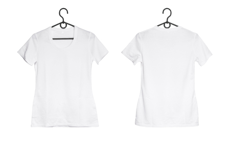 Foto de white woman t-shirt on hanger isolated on a white background, front and back view - Imagen libre de derechos