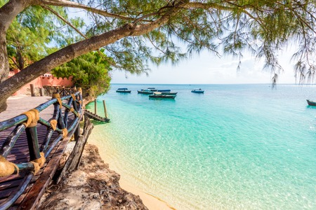 Photo for beautiful view from Turtles Island on clear blue ocean, Zanzibar - Royalty Free Image
