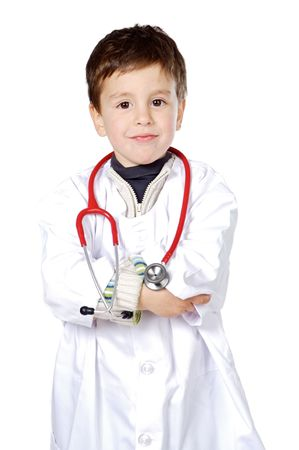 Adorable future doctor a over white background