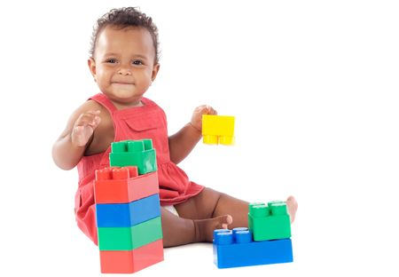 girl playing with building blocks over white background