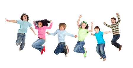 Photo for Six funny children jumping isolated on a white background - Royalty Free Image
