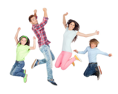Photo pour Young happy family jumping isolated on a white background - image libre de droit