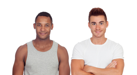 Handsome guys isolated on a white background