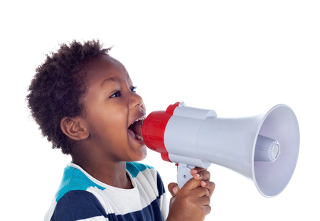 Photo for Small boy shouting through a megaphone isolated on white background - Royalty Free Image