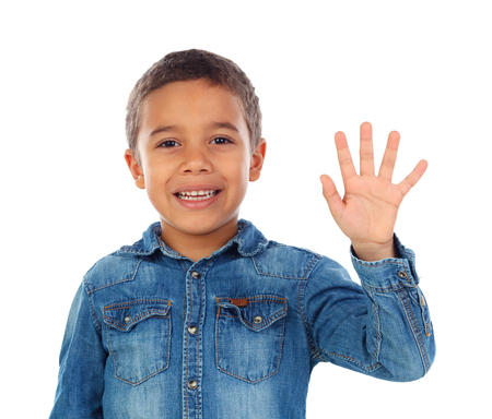 Photo pour Adorable child counting with his fingers isolated on a white background - image libre de droit