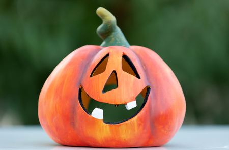 Photo for Happy pumpkin outside with a funny smile - Royalty Free Image