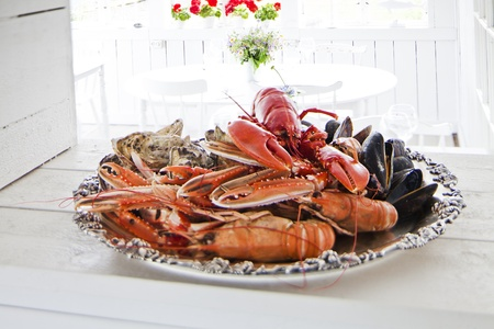 Seafood plate in a resturant