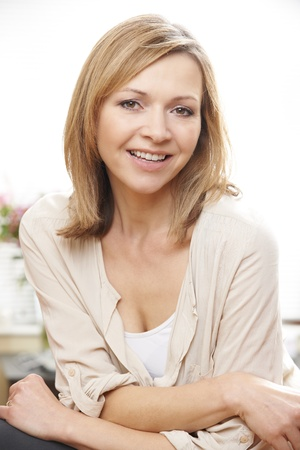 waist up portrait of mature caucasian woman in her 40's
