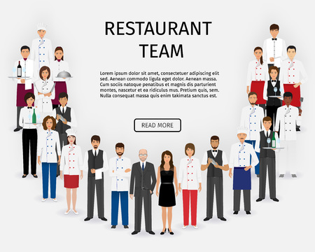 Illustration pour Hotel restaurant team. Group of catering service characters standing together in uniform. Food service staff website banner. Vector illustration. - image libre de droit