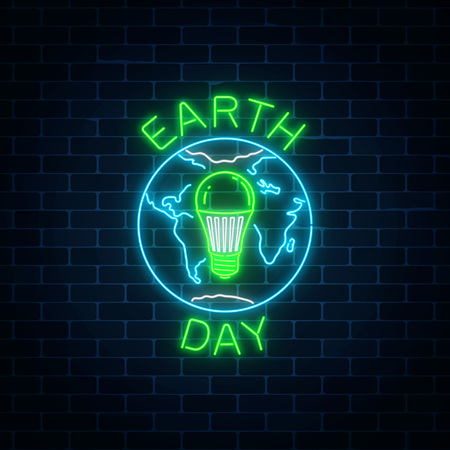 Illustration pour Glowing neon sign of world earth day with globe symbol and green led light bulb inside on dark brick wall background. Earth day neon banner. Vector illustration. - image libre de droit