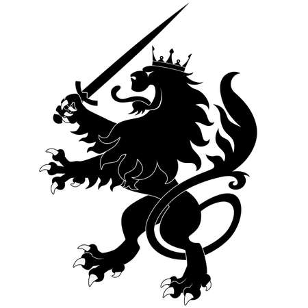Black heraldic lion with sword on white background