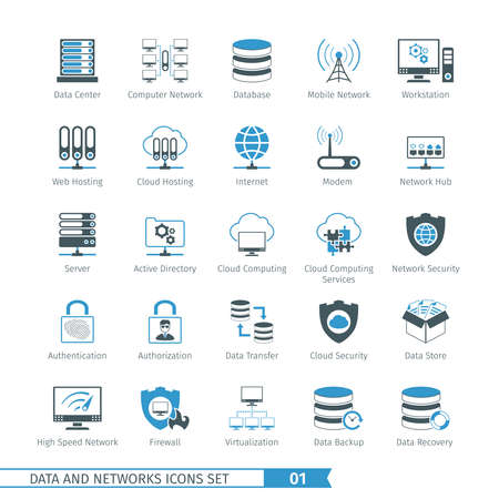 Illustration pour Data And Networks Icon Set 01 - image libre de droit