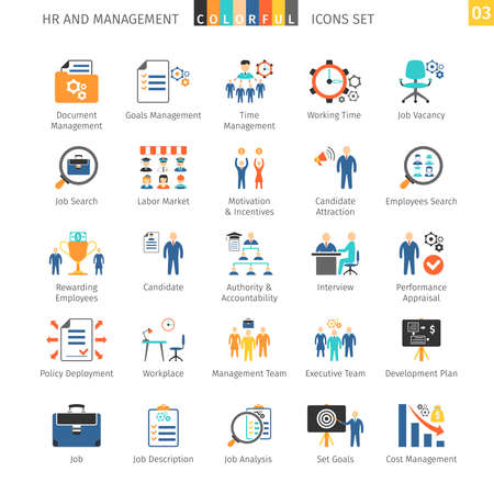 Illustration pour Human Resources And Management Flat Icons - image libre de droit