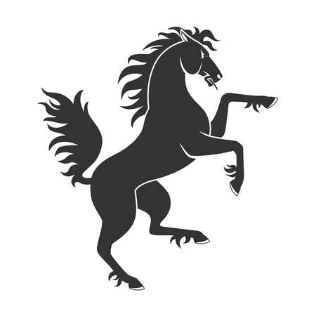 Ilustración de Black Rearing Up Horse For Heraldry Or Tattoo Design Isolated On White Background - Imagen libre de derechos