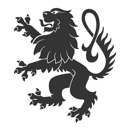 Illustration pour Black Standing Lion For Heraldry Or Tattoo Design Isolated On White Background - image libre de droit