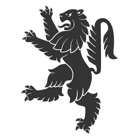 Ilustración de Black Attacking Lion For Heraldry Or Tattoo Design Isolated On White Background - Imagen libre de derechos