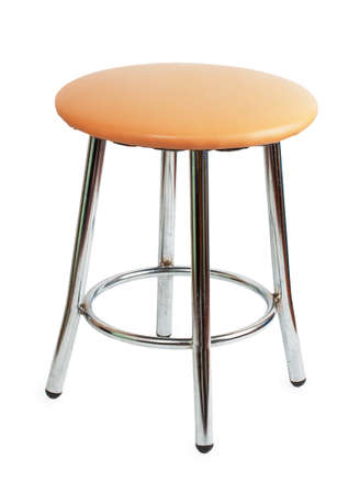 beige stool with metal legs isolated on white