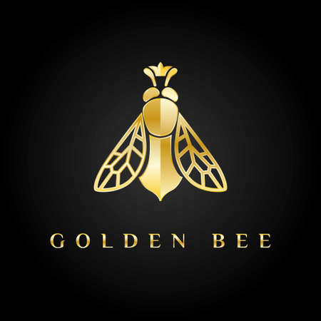 Photo for Golden logo. Bee queen with the crown on its head. - Royalty Free Image