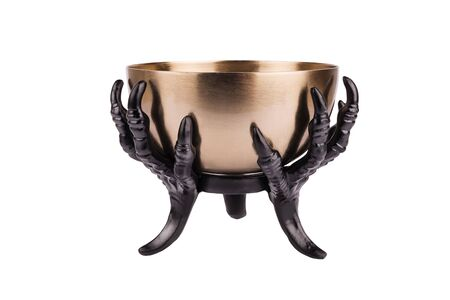 Foto de Metallic offering bowl for a ritual preparation, isolated on a white background. Cut out. - Imagen libre de derechos