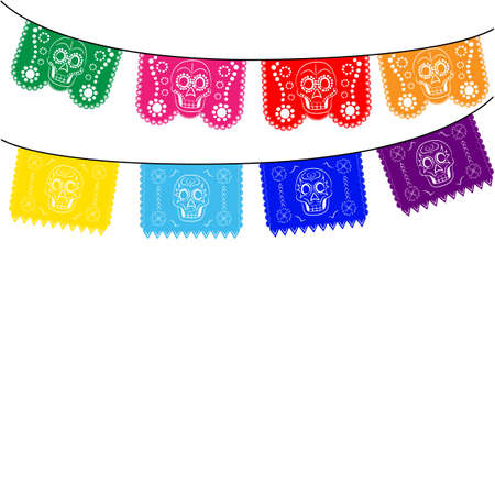 Illustration pour mexico. multicolored template with hanging traditional mexican flags - image libre de droit